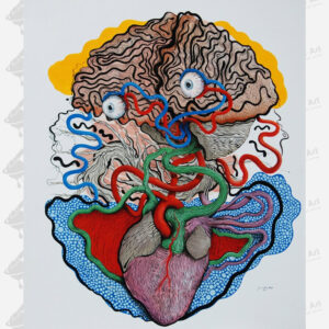 oil painting brain heart